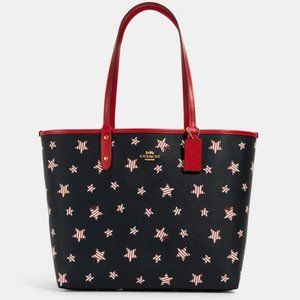NWT COACH REVERSIBLE CITY TOTE AMERICAN STARS